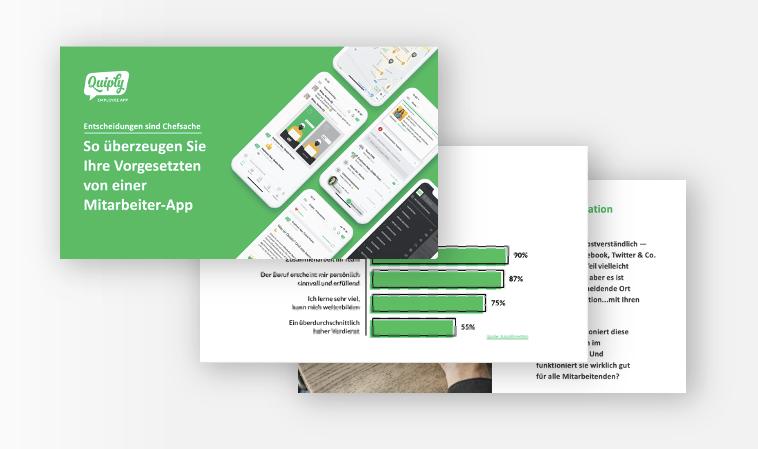 Drei Folien der Präsentation: So überzeugen Sie Ihre Vorgesetzten von einer Mitarbeiter-App